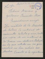 Carta de Rafael Millán a Guillermo Fernández-Shaw y Federico Romero, dándoles las gracias por la cesión que han hecho de unos derechos de autor a favor de él.