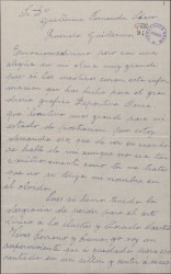 Carta de Rafael Millán a Guillermo Fernández-Shaw, agradeciéndole la información que sobre él ha publicado.