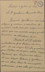 Carta de Rafael Millán a Guillermo Fernández-Shaw, expresando su alegría por las gestiones que éste realiza a su favor.