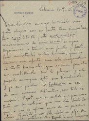 Carta de Leopoldo Magenti a Federico Romero, contestando a una carta suya.