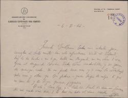 Carta del Padre José María Llanos a Guillermo Fernández-Shaw, lamentando haber fracasado en ciertas gestiones.