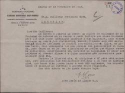 Carta del Padre José María Llanos a Guillermo Fernández-Shaw, intercediendo a favor de un grupo de empleados de la Sociedad de Autores para que les permitan hacer ejercicios espirituales sin descontarles del sueldo los días correspondientes.