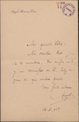Carta de Ángel Herrera Oria a Félix, aconsejándole confianza.