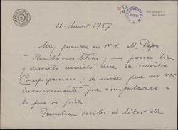 Carta del Padre Juan Antonio Cavestany a María Josefa Baldasano, mujer de Guillermo Fernández-Shaw, accediendo a lo que ésta le ha dicho sobre una congregación y acusando recibo de un libro.