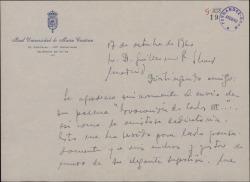 Carta del Padre Saturnino Álvarez Turienzo a Guillermo Fernández-Shaw, agradeciéndole el envío de un poema que éste escribió por sugerencia suya.