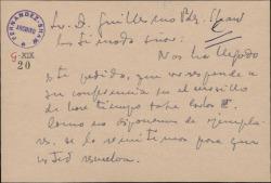 Tarjeta del Padre Saturnino Álvarez Turienzo a Guillermo Fernández-Shaw, remitiéndole un pedido de ejemplares que le han hecho de una conferencia de éste.