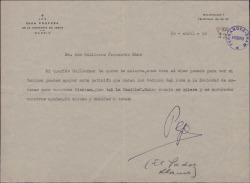 Carta del Padre José María Llanos a Guillermo Fernández-Shaw, pidiéndole que apoye una petición de los vecinos a la Sociedad General de Autores de España.