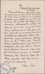 Invitación de Manuel García Morente para asistir a la celebración de su primera misa.