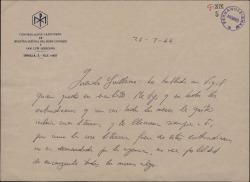 Carta del Padre José María Llanos a Guillermo Fernández-Shaw, sobre ciertas colaboraciones de éste en varias publicaciones.