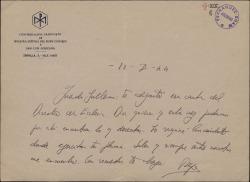 """Carta del Padre José María Llanos a Guillermo Fernández-Shaw, adjuntando una carta del director de """"Ecclesia"""" sobre posibles colaboraciones literarias."""