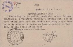 Tarjeta postal del Padre José María Llanos a sus tíos Guillermo Fernández-Shaw y señora, agradeciéndoles las letras que le han enviado con motivo de su profesión religiosa.