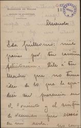 Carta de Mauricio López Roberts a Guillermo Fernández-Shaw, agradeciéndole su felicitación por un concierto que ha dado en calidad de debutante.