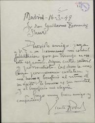 Carta de Vicente Pereda a Guillermo Fernández-Shaw, felicitándole por un éxito teatral.