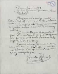 Carta de Vicente Pereda a Guillermo Fernández-Shaw, interesándose por su salud.