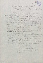 """Carta de Vicente Pereda a Guillermo Fernández-Shaw, felicitándole por un nuevo triunfo teatral con """"A todo color"""" y eleogiando la obra."""