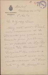 Carta de Armando Palacio Valdés a Guillermo Fernández-Shaw, pidiéndole comunique la autorización al Sr. Llorente. para publicar unas novelas de áquel en la prensa valenciana.