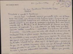 Carta de Juan Alarcón Benito a Guillermo Fernández-Shaw, contándole su triste situación de enfermo recluído en un sanatorio.