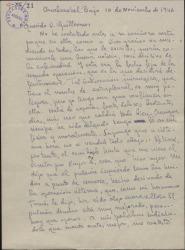 Carta de Juan Alarcón Benito a Guillermo Fernández-Shaw, dándole noticias de su enfermedad y de su actividad literaria.