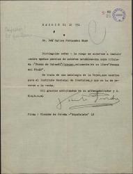 Carta de Vicente Pereda a Guillermo Fernández-Shaw, pidiéndole autorización para incluir una poesía suya en una antología que prepara.