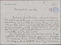 Carta de Luis Araujo-Costa a Guillermo Fernández-Shaw, dándole el pésame por la muerte de su madre y hablándole de su mal estado de salud.