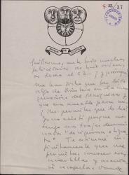 Carta de Tomás Borrás a Guillermo Fernández-Shaw, pidiendo le permita leer unas cuartillas escritas por éste, que contenían algo amable para él.