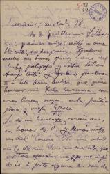 """Carta de Adolfo de Sandoval a Guillermo Fernández-Shaw, adhiriéndose de corazón al homenaje que se va a rendir a los autores de """"El caserío""""."""