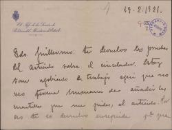 Carta de Mauricio López Roberts a Guillermo Fernández-Shaw, enviándole las pruebas de un artículo para que lo modifique como crea conveniente.