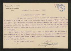 Carta de Teodoro Llorente Fálco a Guillermo Fernández-Shaw, lamentando que la carencia de papel para el periódico con motivo de la Guerra le impida publicar los artículos de sus colaboradores y otras noticias.