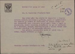 Carta de Antonio Rodríguez de León a Guillermo Fernández-Shaw, pidiéndole varios datos personales, con destino al Archivo de Prensa Española.
