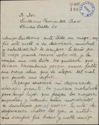 Carta de Eduardo M. del Portillo a Guillermo Fernández-Shaw, pidiéndole una ayuda económica.