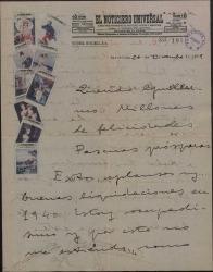 Carta de Valentín Moragas Roger a Guillermo Fernández-Shaw, felicitándole las Pascuas y elogiando la traducción que ha hecho de una obra de Saperas.