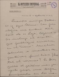 """Carta de Valentín Moragas Roger a Guillermo Fernández-Shaw, felicitándole por el éxito de """"Loza lozana"""" y enviándole un comentario periodístico que ha publicado sobre la obra."""