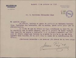 Carta de Juan Pujol a Guillermo Fernández-Shaw, sobre una fantasía humorística de éste que ha sido publicada y que puede pasar a cobrar.