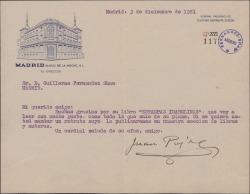 """Carta de Juan Pujol a Guillermo Fernández-Shaw, agradeciéndole el ejemplar enviado de """"Estampas isabelinas"""" y pidiendo una fotografía suya para publicarla."""