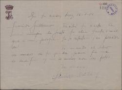 Carta de José Sánchez-Arcilla a Guillermo Fernández-Shaw, diciéndole cuanto le ha gustado su obra tanto a él como a su esposa.