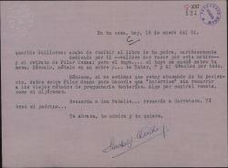 Carta de José Sánchez-Arcilla a Guillermo Fernández-Shaw, agradeciéndole el envío de un libro de Carlos Fernández Shaw con una dedicatoria suya y pidiéndole datos sobre Pilar Osuna para una entrevista.