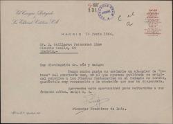 """Carta de Francisco de Luis a Guillermo Fernández-Shaw, enviándole un ejemplar de la revista """"Letras"""" donde se publica un artículo suyo."""