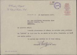 """Carta de Francisco de Luis a Guillermo Fernández-Shaw, diciéndole que publicará en la revista """"Letras"""" la fotografía que le ha enviado."""