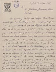 Carta de Eladio Portasany a Guillermo Fernández-Shaw, agradeciendo su felicitación y expresando su satisfacción por los éxitos teatrales de éste.