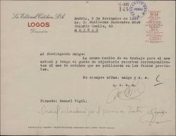 Carta de Manuel Vigil a Guillermo Fernández-Shaw acusando recibo de su trabajo de ese mes y enviando recortes correspondientes al mes de octubre.