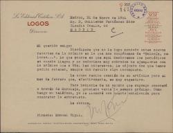 Carta de Manuel Vigil a Guillermo Fernández-Shaw, enviándole los recortes de sus colaboraciones periodísticas y disculpándose por no haberlos enviado antes. Acusa también recibo de su nueva colaboración.