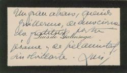 Tarjeta de visita de Luis de Galinsoga a Guillermo Fernández-Shaw, agradeciendo su pésame.