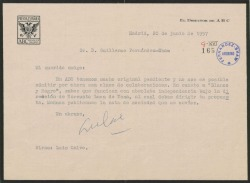 Carta de Luis Calvo a Guillermo Fernández-Shaw, diciendo que por exceso de originales no puede admitir una colaboración suya en ABC.