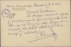Tarjeta de Francisco Ramos de Castro a Guillermo Fernández-Shaw, agradeciéndole lo rápido que le ha atendido y enviándole quinientas pesetas.