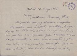 Carta de Fernando José de Larra a Guillermo Fernández-Shaw, agradeciendo sus frases de elogio.