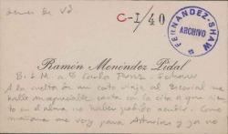 Cartas de Ramón Menéndez Pidal a Carlos Fernández Shaw.