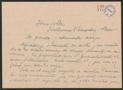 """Carta de Fernando José de Larra a Guillermo Fernández-Shaw, agradeciendo su carta y comentando la situación de la sociedad teatral """"La Farándula""""."""