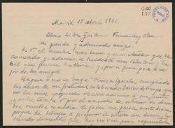 """Carta de Fernando José de Larra a Guillermo Fernández-Shaw, expresándole su reconocimiento por las gestiones realizadas a favor del estreno de su obra teatral """"Fuerzas iguales""""."""