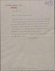 Carta de Nicolás González Ruiz a Guillermo Fernández-Shaw, agradeciendo su carta y pidiendo dos localidades para un estreno.