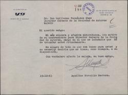 Carta de Aquilino Morcillo a Guillermo Fernández-Shaw, dándole la enhorabuena por su nombramiento de Director de la Sociedad General de Autores de España.